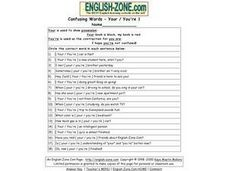 Confusing Words-- Your / You're 1 Worksheet