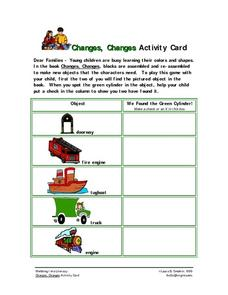 Changes, Changes Activity Card Worksheet