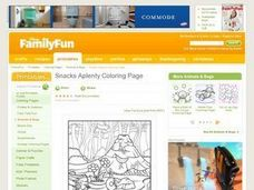 Snacks Aplenty Coloring Page Lesson Plan