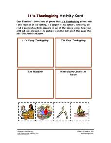 It's Thanksgiving Activity Card Worksheet