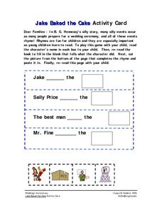 Jake Baked the Cake Activity Card Worksheet