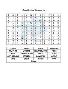 Classification Wordsearch Lesson Plan