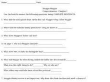 Muggie Maggie Comprehension- Chapter 1 Worksheet