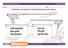 Max's Balancing Stick: Complete Sentences Worksheet
