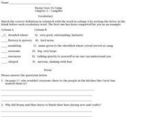 Beany Goes to Camp Chapter 3 Campfire Worksheet