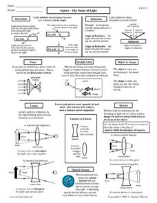 Optics - The Study of Light Worksheet