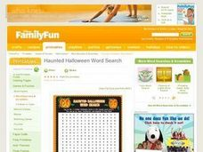 Haunted Halloween Word Search Lesson Plan