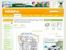 Hidden Picture & Coloring Page: Find the Carnival Souvenir Lesson Plan