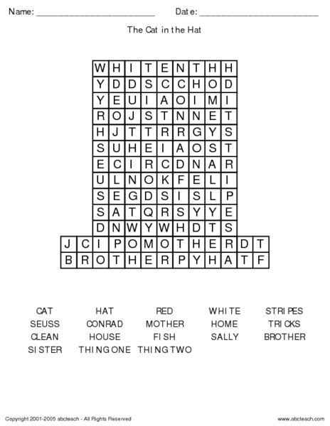 The Cat in the Hat Word Search Worksheet for 1st Grade