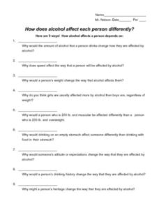 How Does Alcohol Affect Each Person Differently? Worksheet