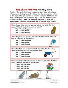 The Little Red Hen Activity Card Worksheet