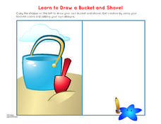 How to Draw a Beach Bucket Worksheet