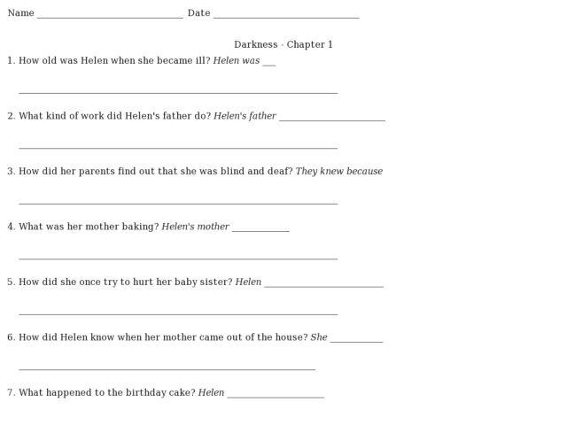 Darkness- Chapter 1 --Helen Keller 2nd - 3rd Grade Worksheet ...