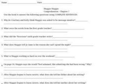 Muggie Maggie Comprehension Chapter 7 Worksheet