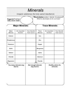 Minerals - Inorganic Substances The Body Cannot Manufacture Graphic Organizer