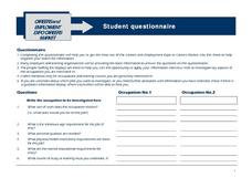 Careers and Employment Expo/Careers Market - Student Questionnaire Worksheet