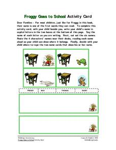 Froggy Goes to School Activity Card Worksheet
