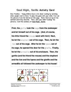 Good Night, Gorilla Activity Card Worksheet For Pre K Kindergarten Dawn Of The Planet Of The Apes Gorilla Good Night, Gorilla Activity Card Worksheet