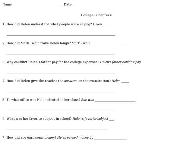 College- Chapter 6 (Helen Keller) 2nd - 3rd Grade Worksheet ...