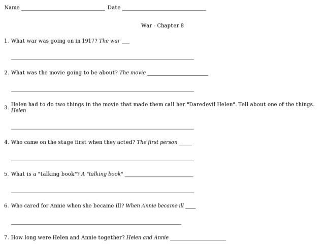 War Chapter 8 Helen Keller 2nd 3rd Grade Worksheet – Chapter 8 Special Senses Worksheet Answers
