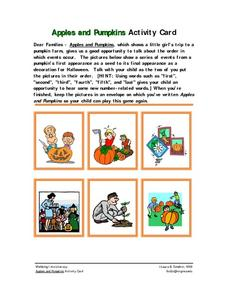 Apples and Pumpkins Activity Card Worksheet