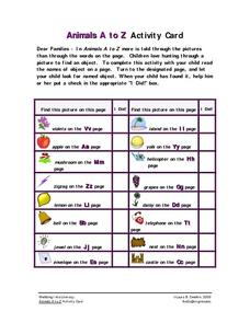 Animals A to Z Activity Card Worksheet