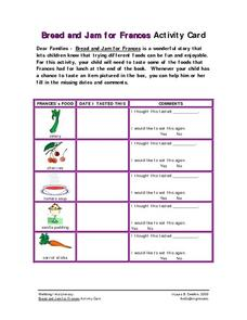 Bread and Jam for Frances Activity Card Worksheet