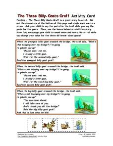 The Three Billy Goats Gruff Activity Card Worksheet