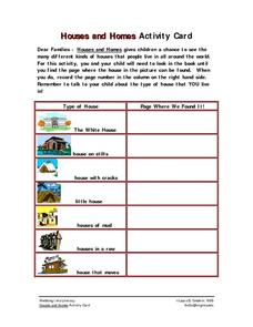 Houses and Homes Activity Card- School-Home Activity Worksheet