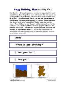Happy Birthday, Moon Activity Card- Home -School Connection Worksheet