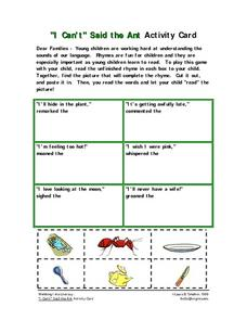 """I Can't"" Said the Ant Activity Card Worksheet"