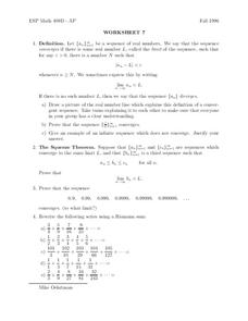Worksheet #7 Worksheet