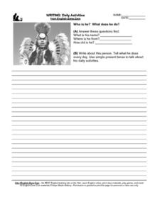 Writing: Daily Activities (Picture Prompt) Worksheet