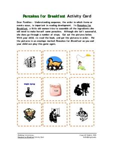 Pancakes for Breakfast Activity Card Worksheet