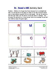 Dr. Seuss's ABC Activity Card Worksheet