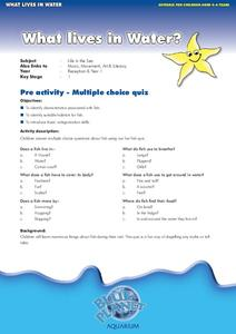 What Lives in Water: Pre and Post Activities Worksheet