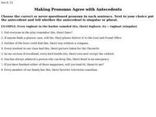 Making Pronouns Agree with Antecedents Worksheet