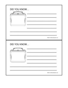 Did You Know Facts- School Lunch Box Worksheet