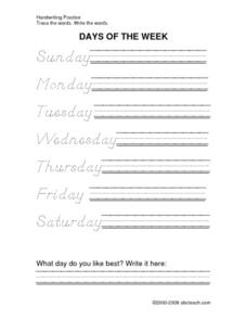 DeNelian Dotted Days of the Week Worksheet