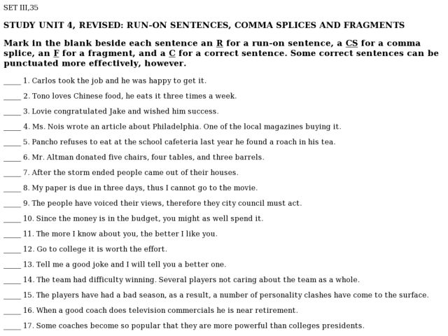 Run On And Fragment Worksheets Sharebrowse – Run on Sentences Worksheet