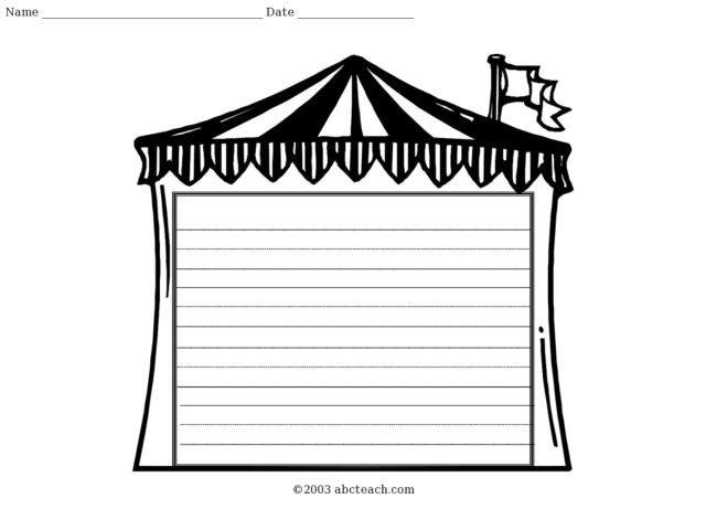 Circus Tent Blank Lined Writing Paper Worksheet for Kindergarten - 1st Grade | Lesson Planet  sc 1 st  Lesson Planet & Circus Tent Blank Lined Writing Paper Worksheet for Kindergarten ...