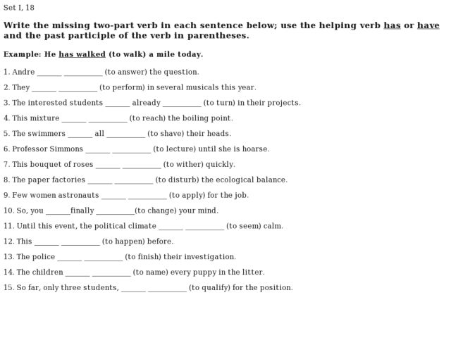 past participle worksheet Termolak – Participle Worksheets