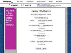 Online ESL Quiz- Word Endings (2) Worksheet