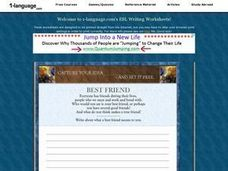 Best Friend Essay Worksheet
