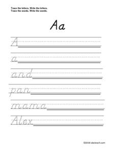 Printing Letters A to Z (D'Nealian Alphabet) Worksheet