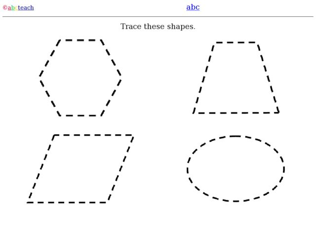 Trace These Shapes: Hexagon, Rhombus, Parallelogram, Oval