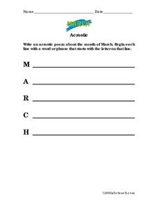 March Acrostic Poem Worksheet