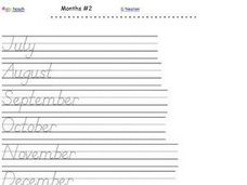 D'Nealian Writing Practice- Months of the Year #2 Worksheet