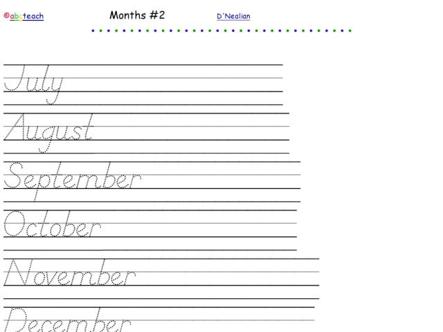 D 39 Nealian Writing Practice Months Of The Year 2