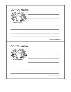 Island Did You Know- Research Recording Cards Worksheet